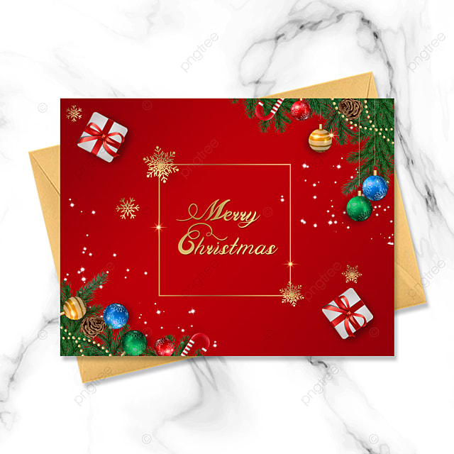red three dimensional christmas card