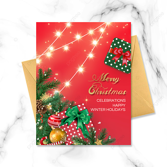 exquisite christmas red greeting card