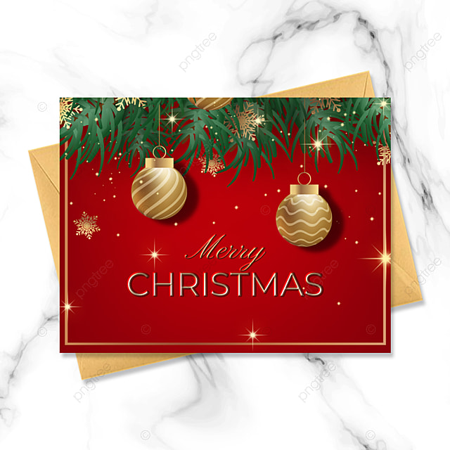 exquisite three dimensional christmas card with golden elements on red background