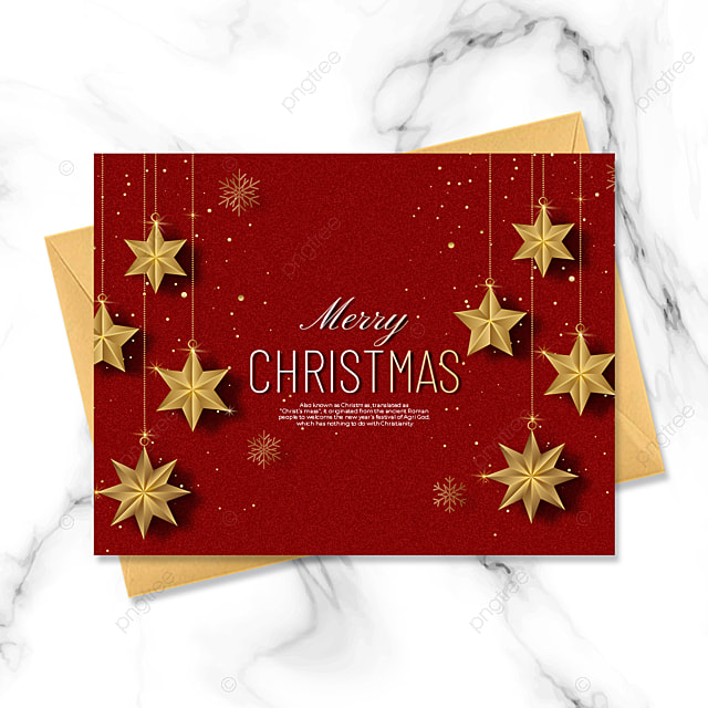 exquisite three dimensional christmas card with stars elements on red background