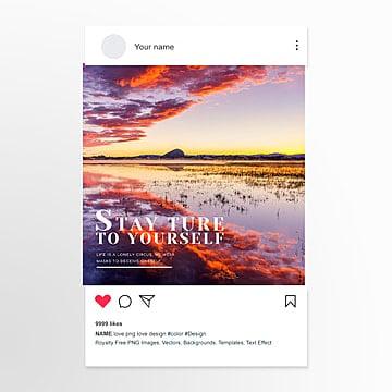 Фотография восхода солнца у озера сообщение в социальных сетях Шаблон