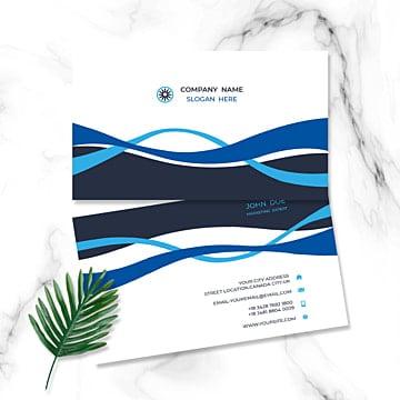 Бело синяя гофрированная визитка Шаблон