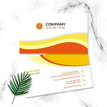Белый желтый оранжевый гофрированная визитка Шаблон