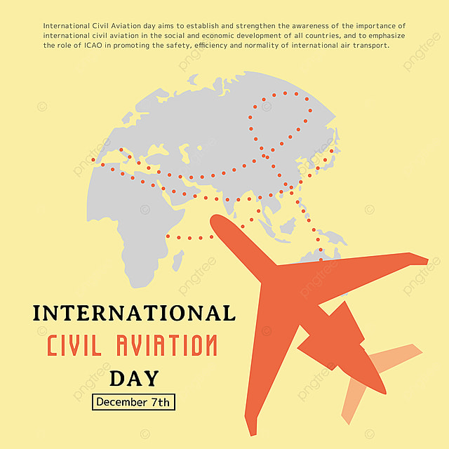 cartoon creative airplane and map combined with international civil aviation day festival social template