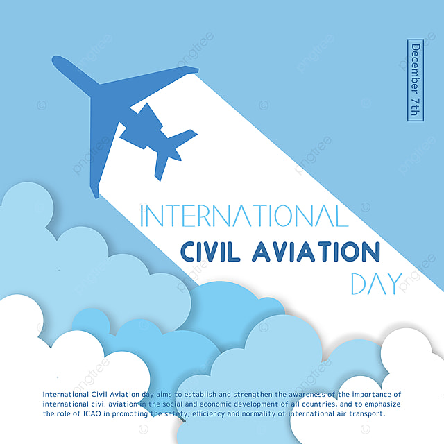 cartoon hand drawn air plane and clouds combined with international civil aviation day festival social template