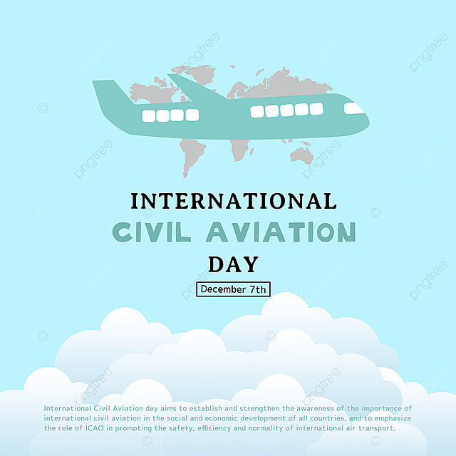 cartoon hand drawn air plane and map combined with international civil aviation day festival social template