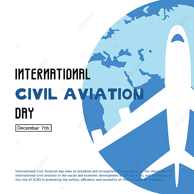 cartoon hand drawn airplane and earth combined with international civil aviation day festival social template