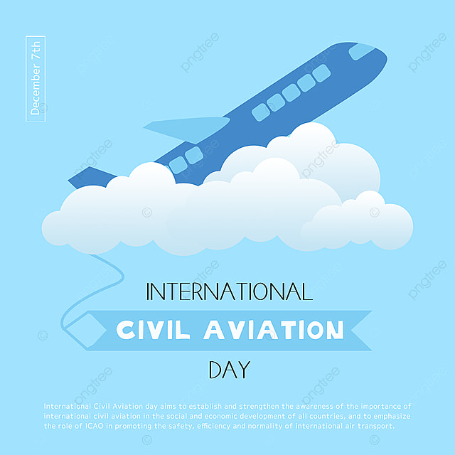cartoon hand drawn airplanes and clouds combined with international civil aviation day festival social template