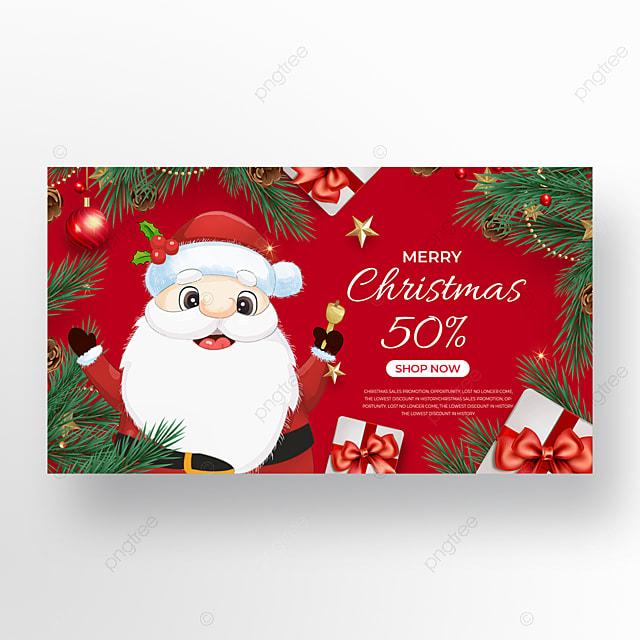 cartoon santa element christmas promotion banner
