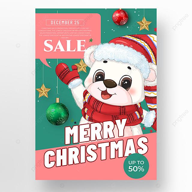 cartoon style christmas holiday poster