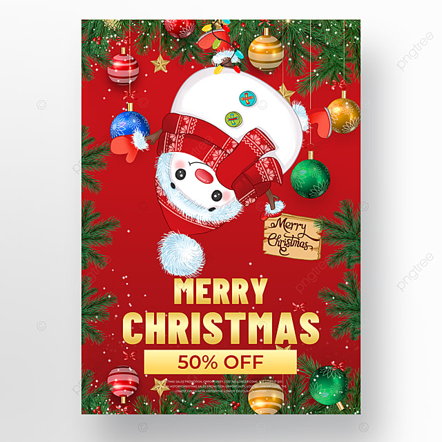 christmas snowman element christmas holiday poster