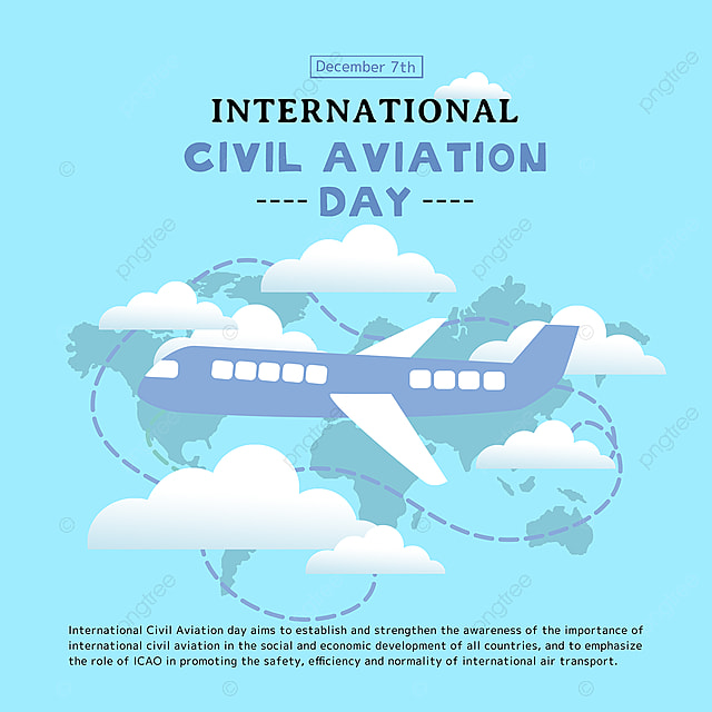 creative airplane and map combined with international civil aviation day festival social template