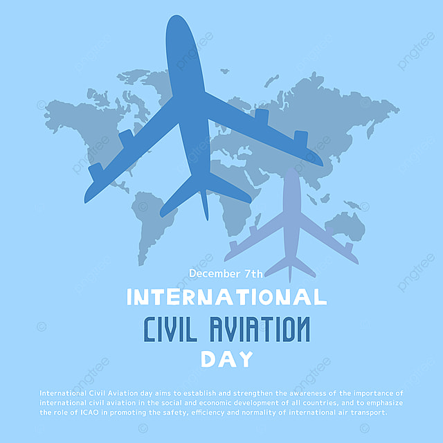 creative hand drawn airplane and map combined with international civil aviation day festival social template