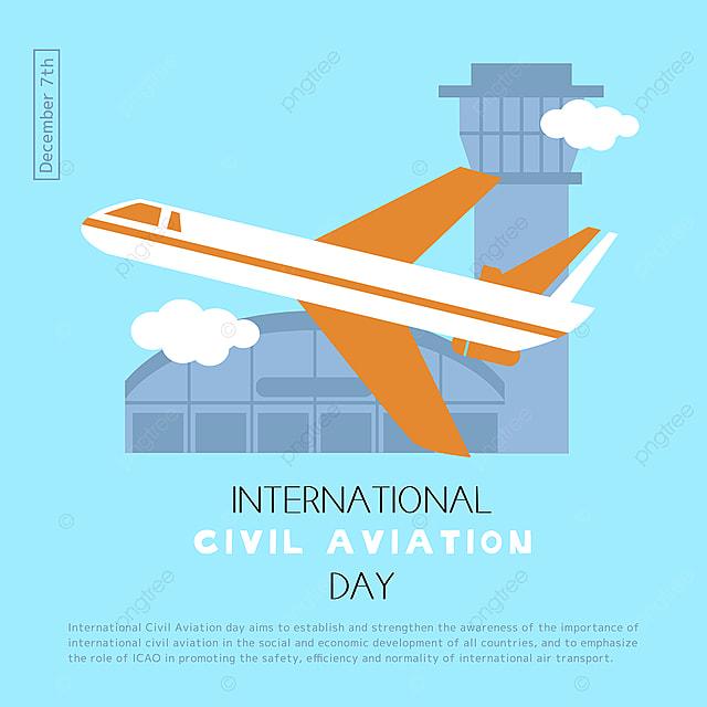 creative hand drawn airport plane takeoff scene international civil aviation day festival social template