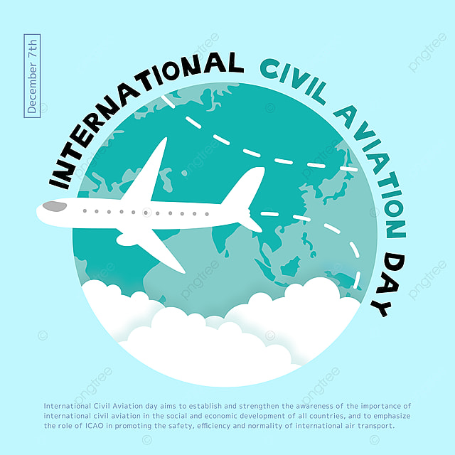 creative illustration airplane and earth combined with international civil aviation day festival social template