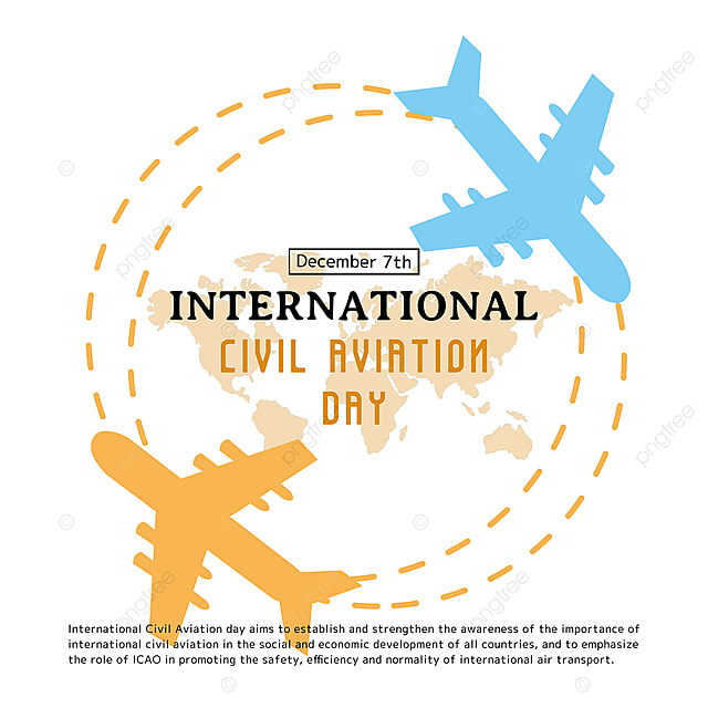 creative illustration airplane travel letter and map combined with international civil aviation day festival social template