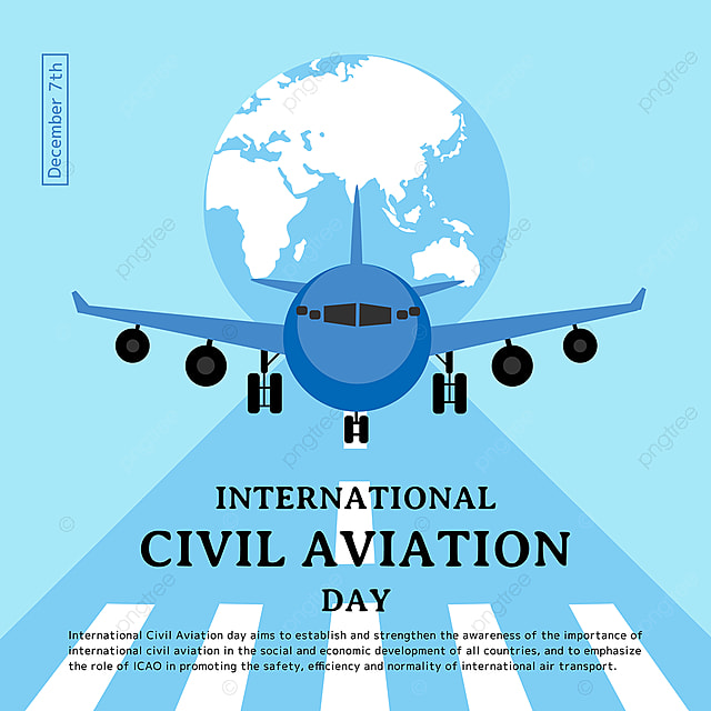 creative illustration of the plane on the airport runway and the earth combined with the international civil aviation day festival social template