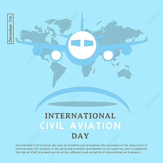 creative illustration plane and map combined with international civil aviation day festival social template