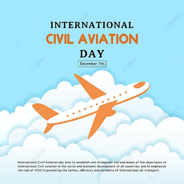 creative illustration taking off airplane international civil aviation day festival social template