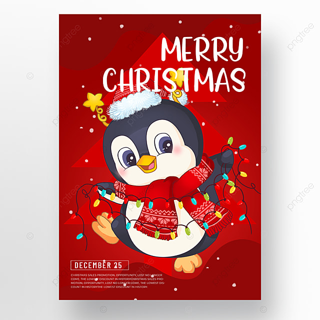 penguin element christmas holiday poster