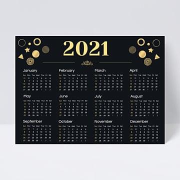 Desain Kalender Emas Hitam Klasik Canggih 2021 Templat ...
