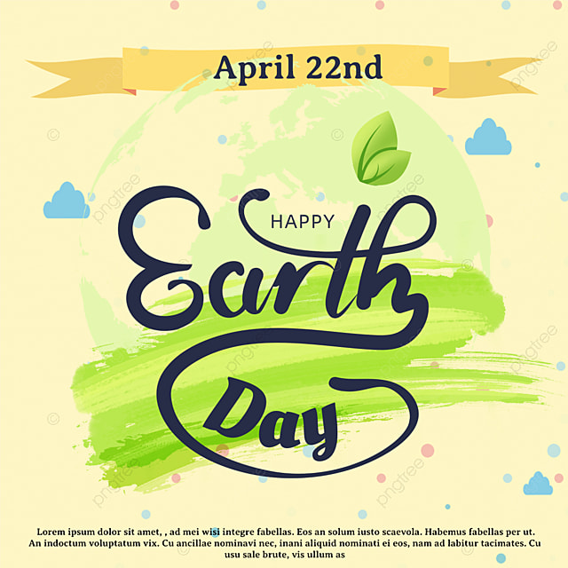 yellow hand drawn earth day holiday template