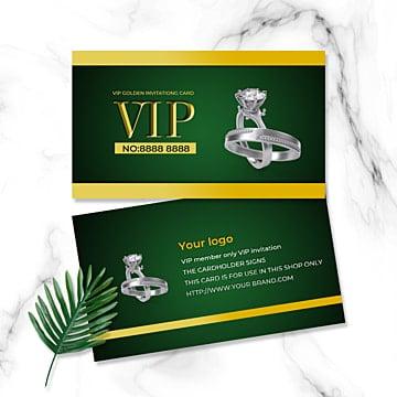 Ювелирное кольцо с зеленой визиткой Шаблон