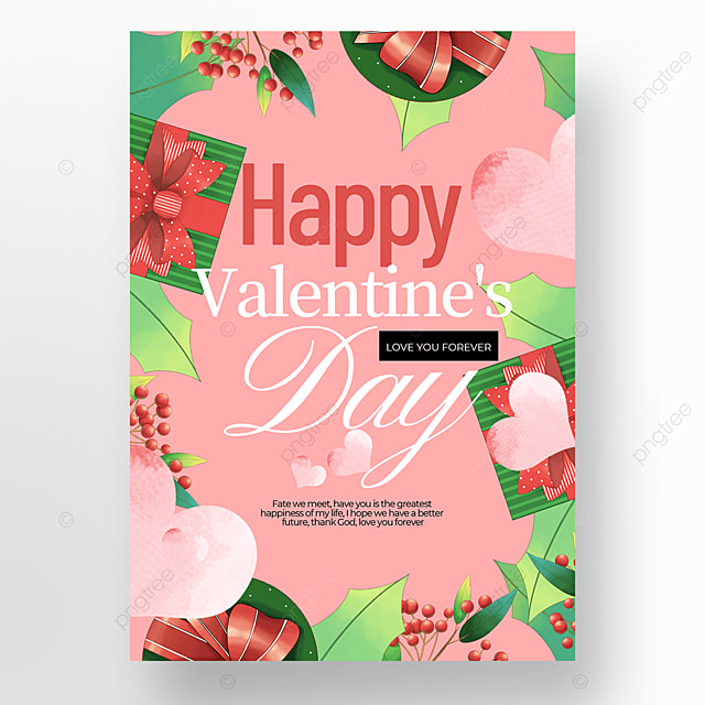 creative gift flower element valentines day poster template