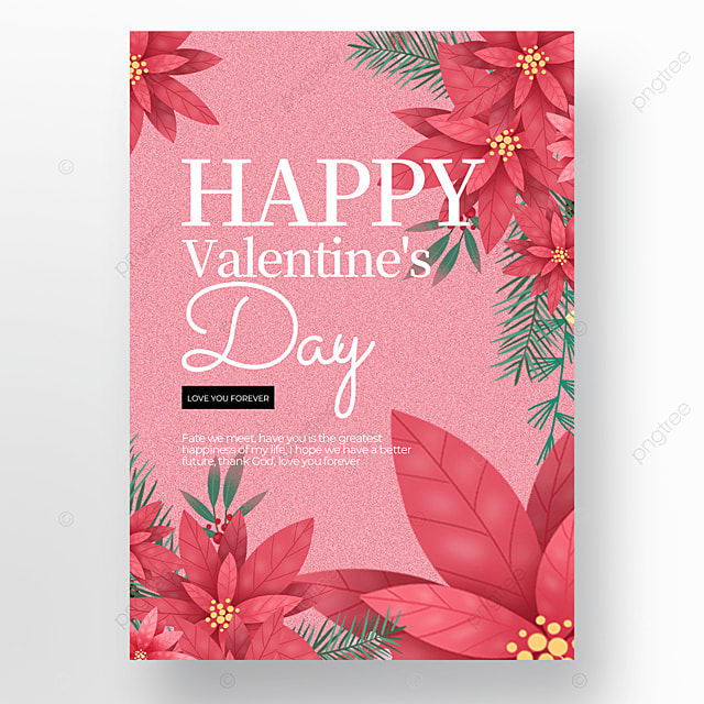 creative valentines day poster template with watercolor flower elements