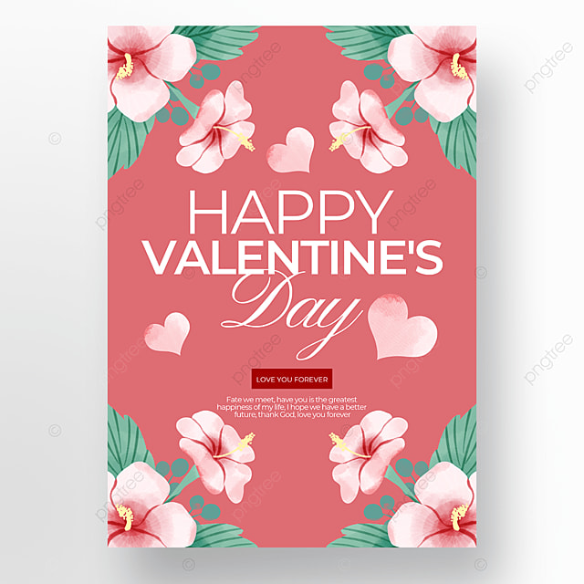 flower element valentines day poster template