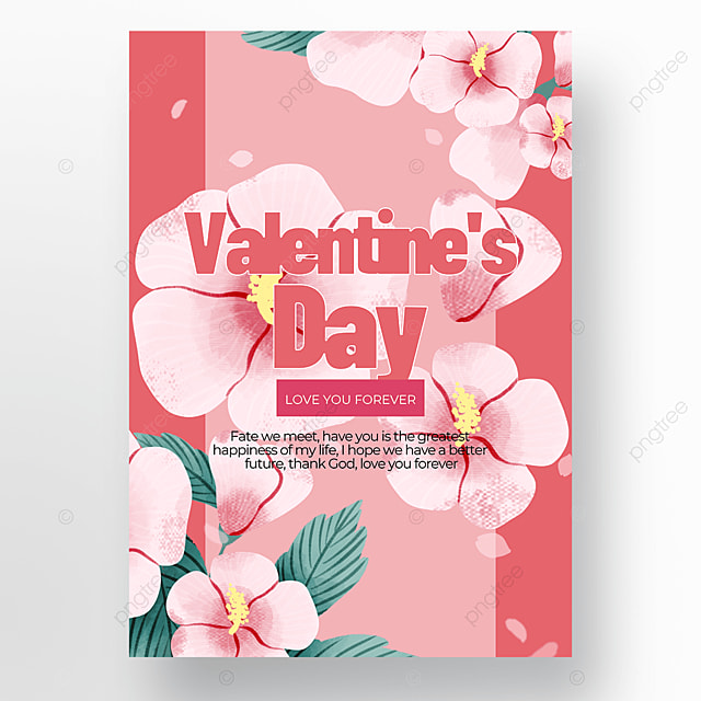 flower pink style valentines day poster template