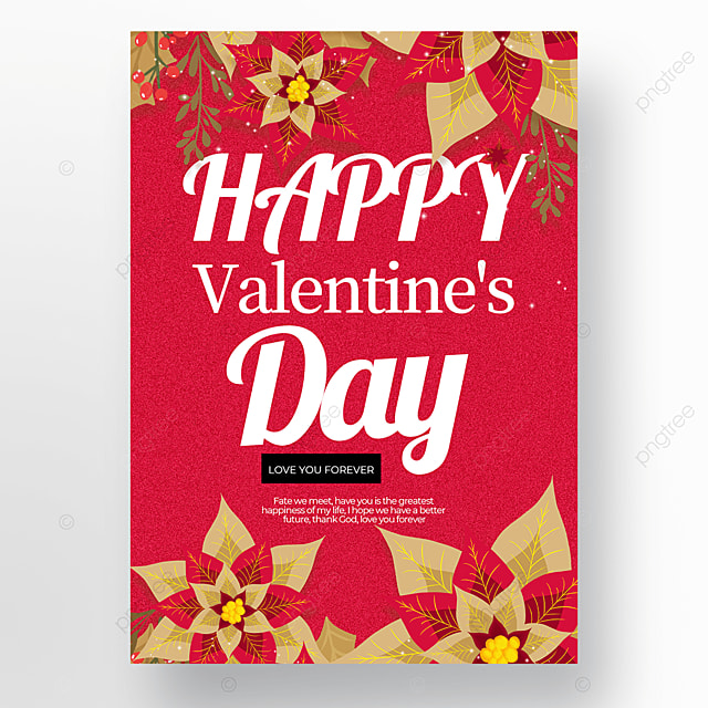 red background flower elements valentines day poster template