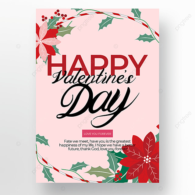 red flowers creative valentines day poster template