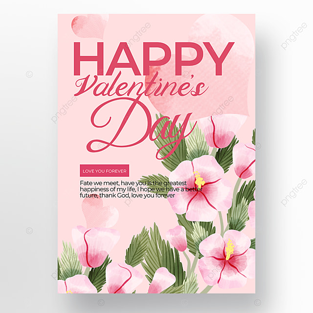 watercolor creative pink background valentines day poster template
