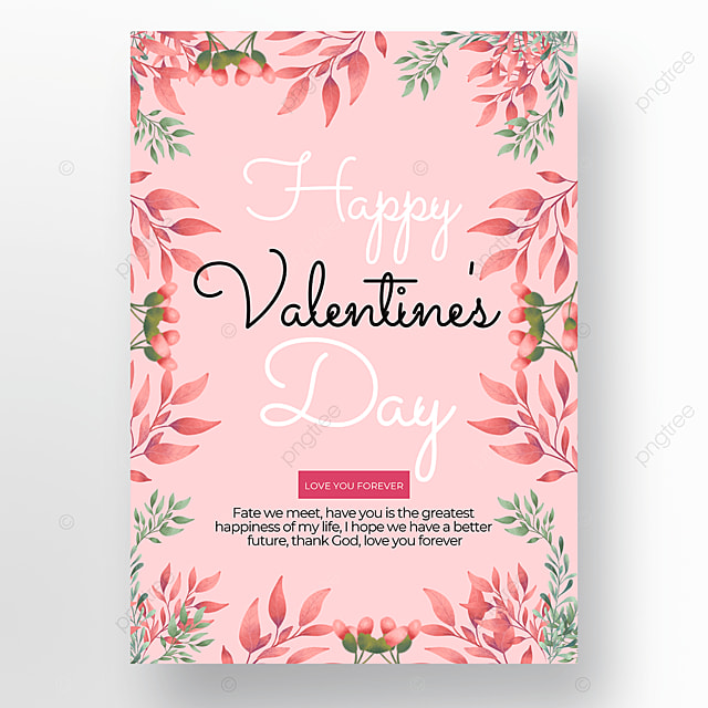 watercolor flowers creative valentines day poster template