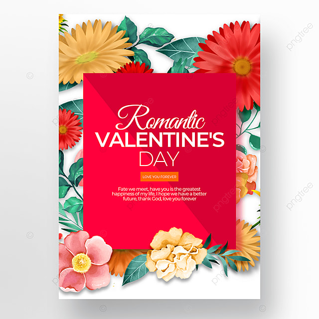 creative flower element valentines day poster template