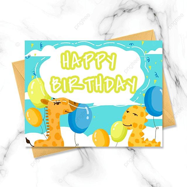 cute cartoon happy birthday card