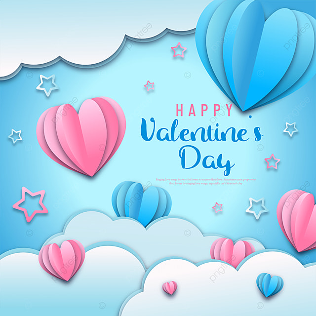 blue paper cut style valentines day sns