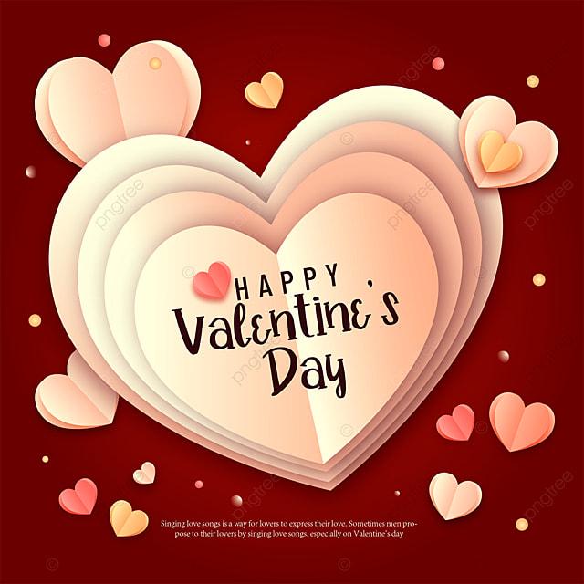 crimson paper cut style valentines day sns