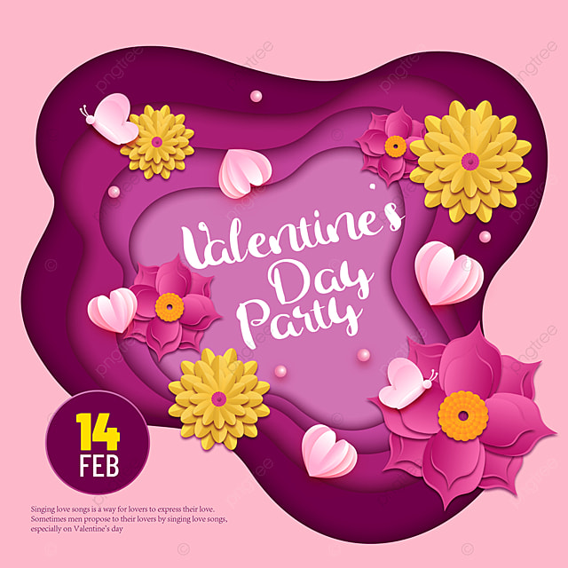 fuchsia paper cut style valentines day sns