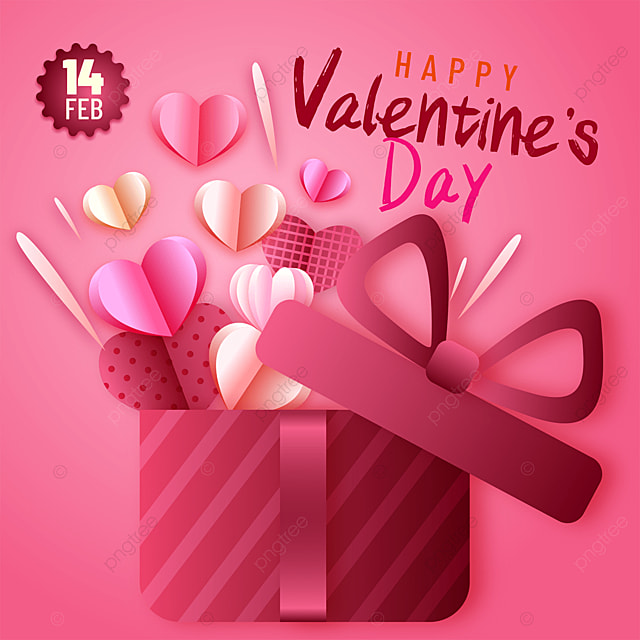 gift box paper cut style valentines day sns