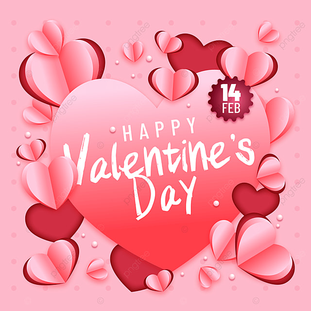 gradient color paper cut style valentines day sns