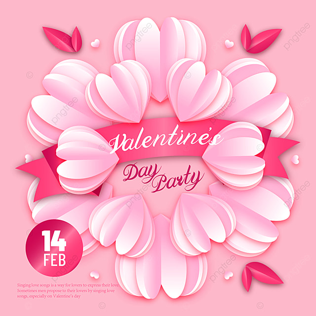 pink paper cut style valentines day sns