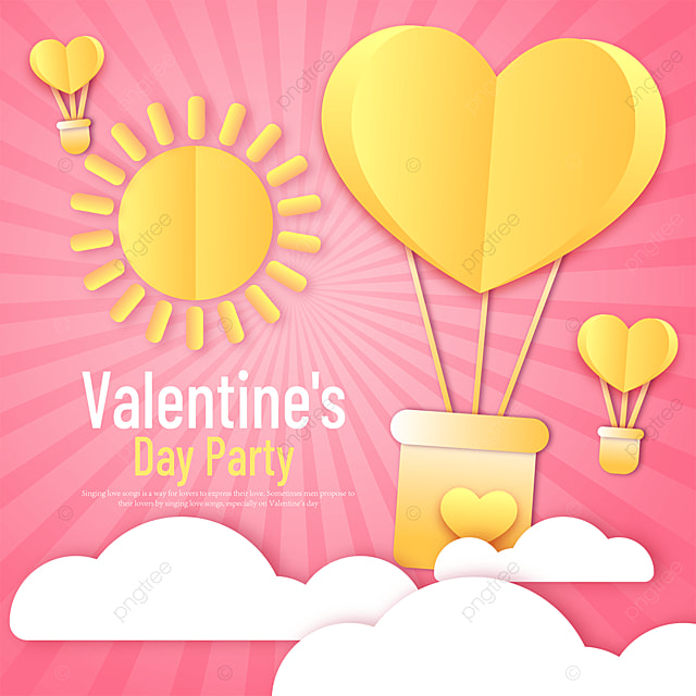 yellow paper cut style valentines day sns