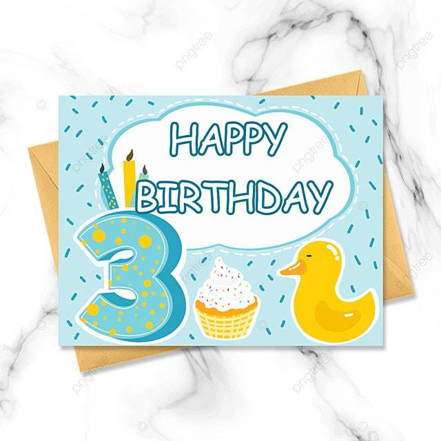blue cartoon birthday card