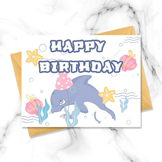 cartoon ocean hand drawn birthday card