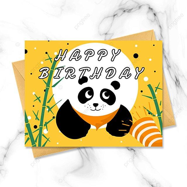 cartoon panda greeting card birthday