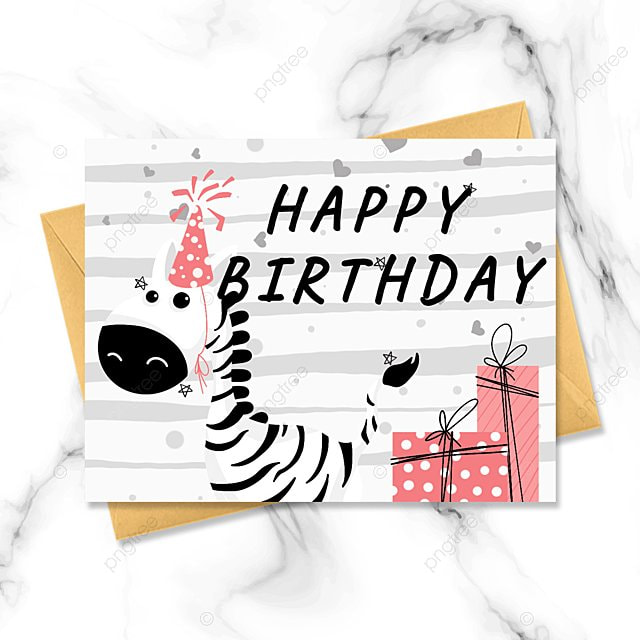 cartoon zebra hand drawn greeting card