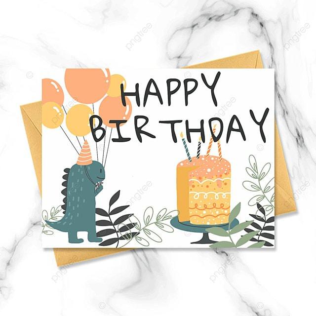 cute dinosaur cartoon birthday card