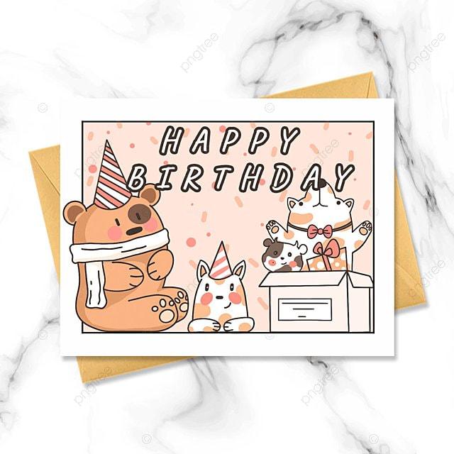 cute lineart hand drawn birthday card